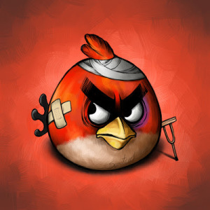 image of cartoon angry bird injured